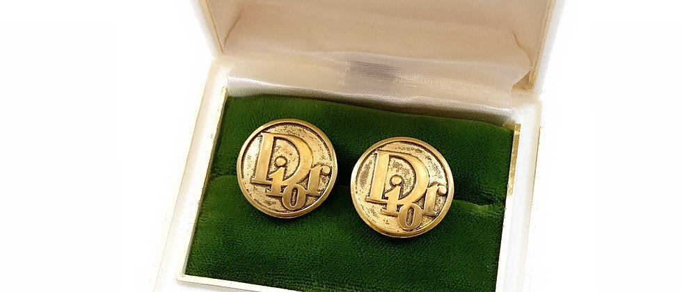 Vintage Repurposed Christian Dior Antiqued Gold Button Earrings
