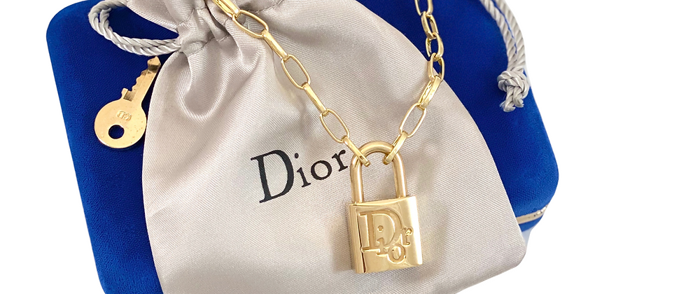 Vintage Repurposed Gold Dior Padlock & Key Charm Choker Necklace
