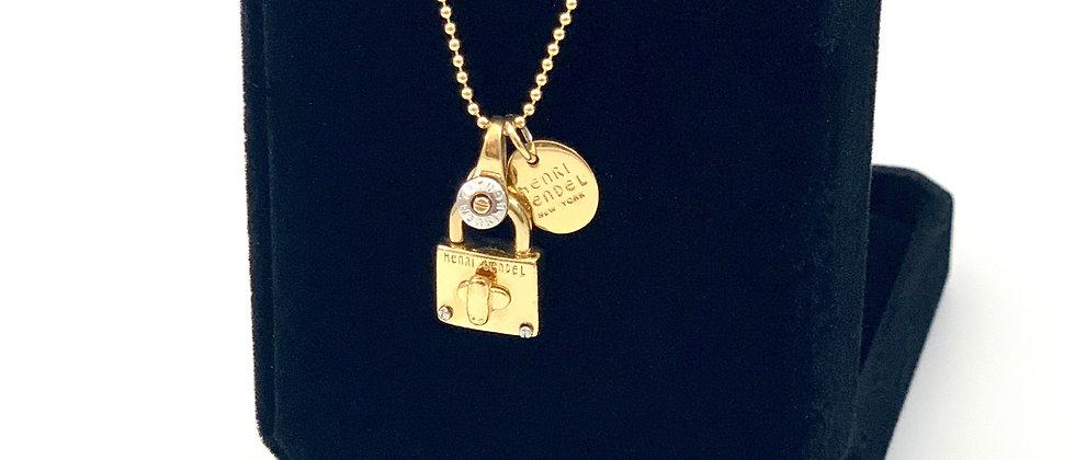 Repurposed Henri Bendel NY Gold Mini Padlock & Charm Necklace