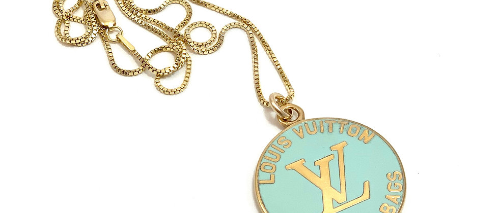 Repurposed Louis Vuitton Large Ice Blue/Green Enameled Charm Necklace