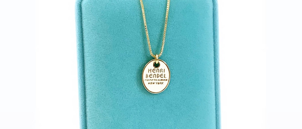 Repurposed Henri Bendel NY Gold & White Enamel Oval Charm Necklace
