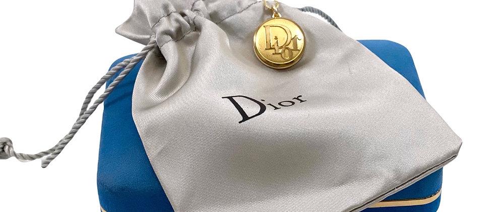 Vintage Repurposed Rare Gold Dior Logo Medium Charm Necklace