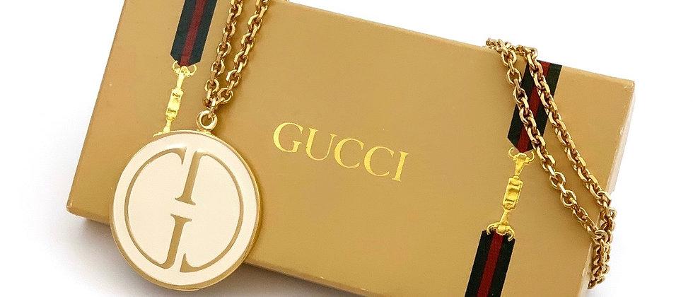 Repurposed Vintage 1990's HUGE Gucci White Enamel Pendant Necklace