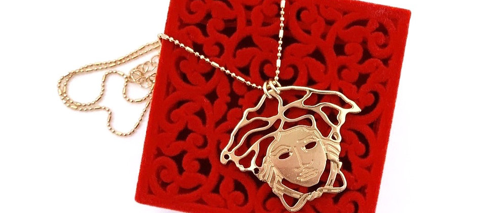 Repurposed Versace XL Gold Medusa Charm Necklace