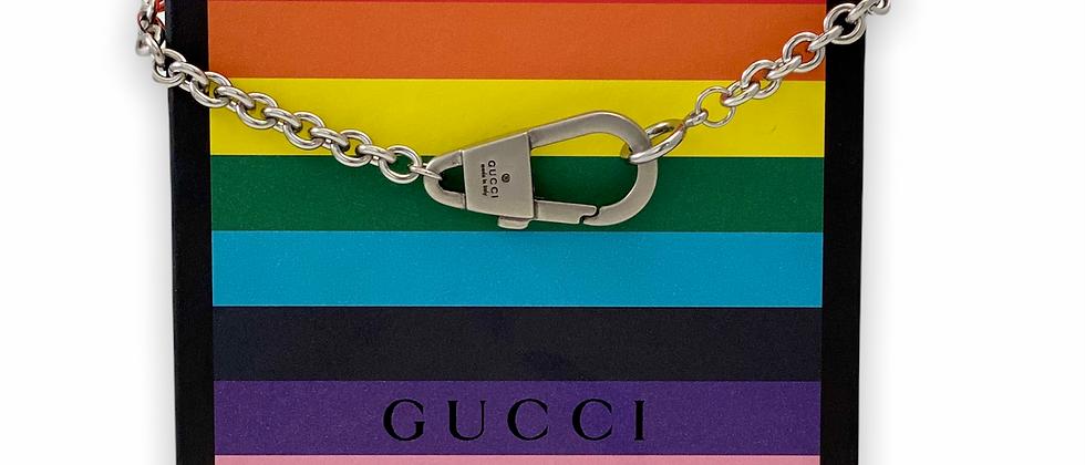 Repurposed Gucci Palladium Carabiner Choker Necklace