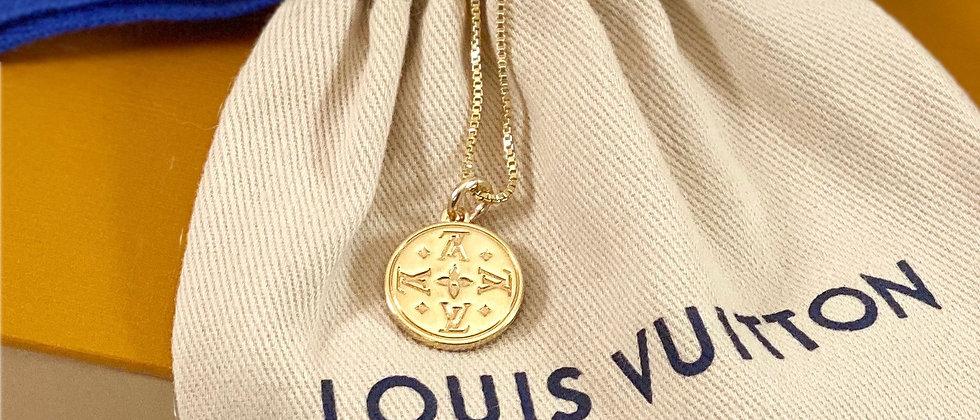 Repurposed Louis Vuitton Small Gold LV Monogram Charm Necklace
