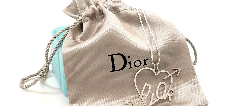Repurposed Sterling Silver XL Love Dior Heart Charm Necklace