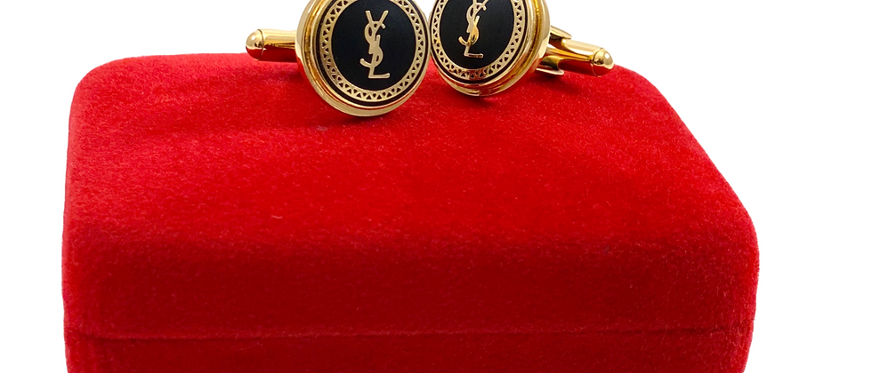 Repurposed Black & Gold YSL Button Accent Cuff Links
