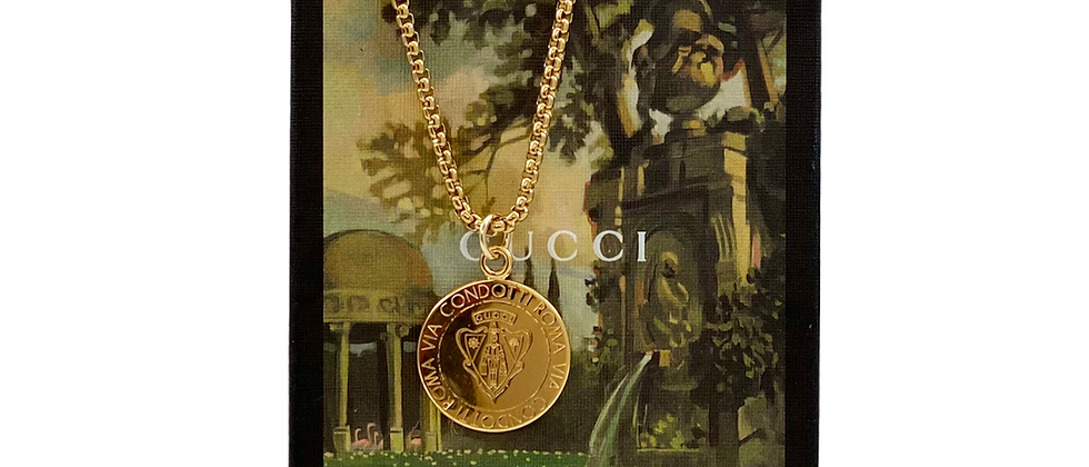 Repurposed Dbl Sided Gucci Knight Gold Crest Coin Charm Necklace