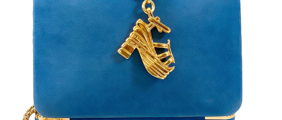 Repurposed Salvatore Ferragamo Iconic XL Gold Platform Shoe Charm Necklace