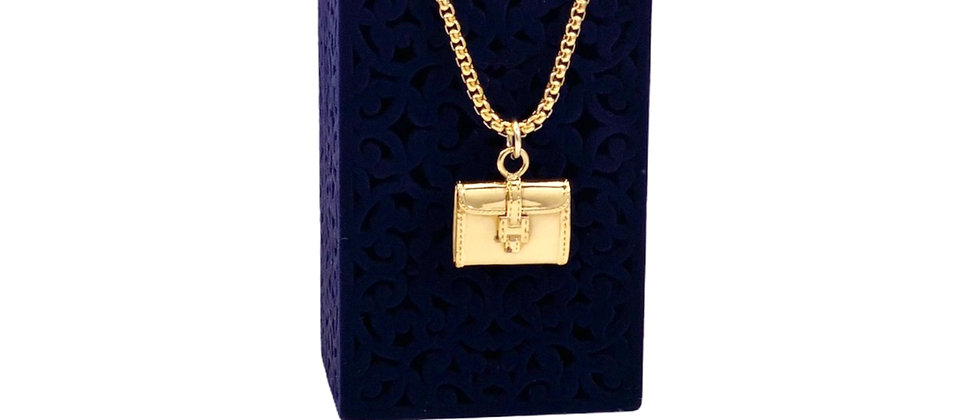 Repurposed Very RARE Hermès Doblis Jige Bag Gold Charm Necklace