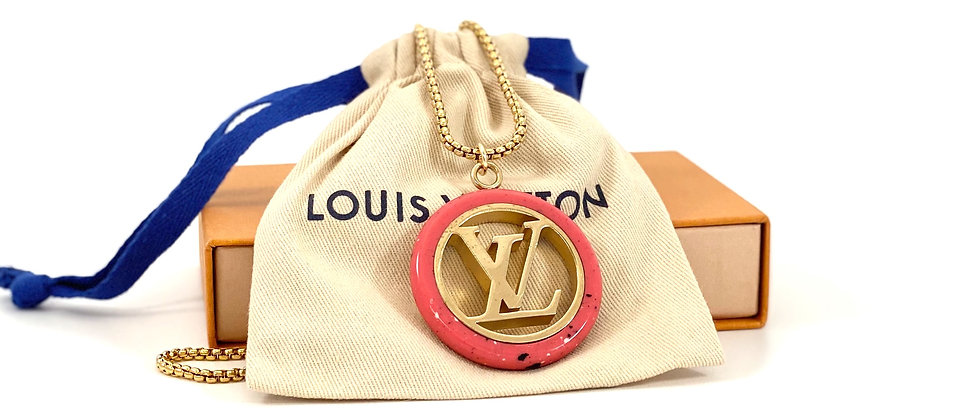 Repurposed Louis Vuitton XXL Gold & Hot Pink Lucite Pendant Necklace