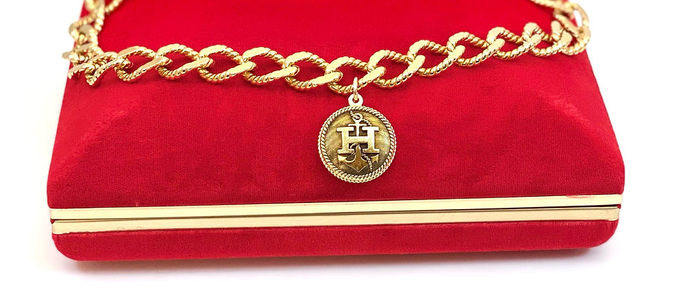 "Repurposed Vintage Hermès Large Gold ""H"" Anchor Charm Chunky Choker Necklace"