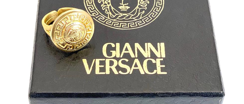Repurposed Vintage Gold Versace Medusa Adjustable Ring