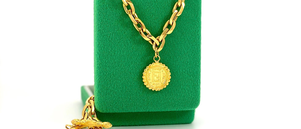 Repurposed Vintage Fendi Double Sided Janus Coin Charm Toggle Choker Necklace