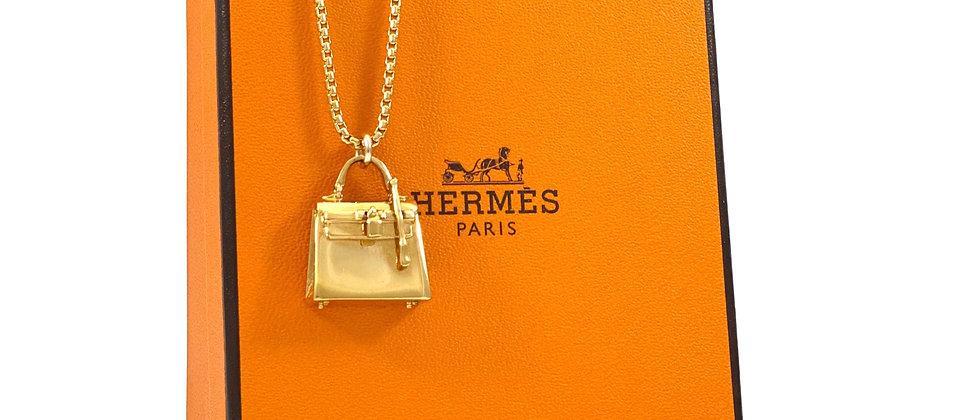 Vintage Repurposed Very RARE Hermès Kelly Bag Gold Charm Necklace