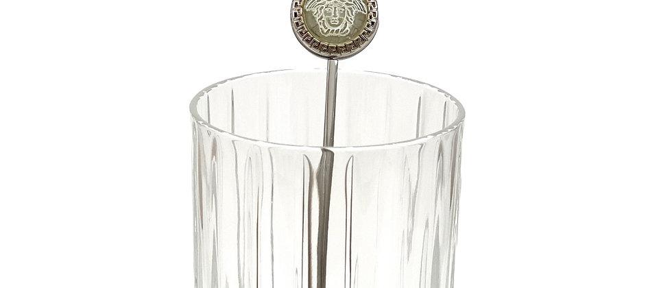 Vintage Repurposed Versace Silver Medusa Cocktail Swizzle Stick Stirrer