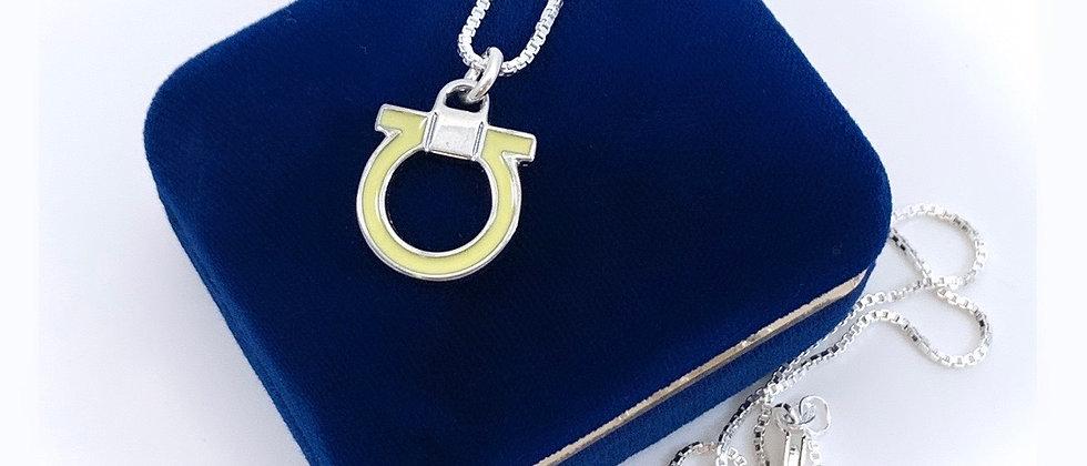 Repurposed Salvatore Ferragamo Silver & Yellow Gancini Logo Charm Necklace