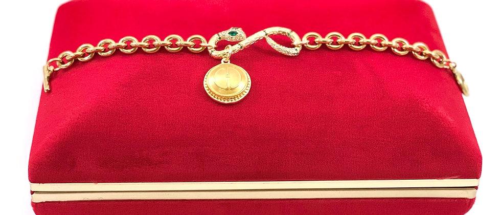 Repurposed Vintage Gucci Charm & CZ Snake Link Bracelet
