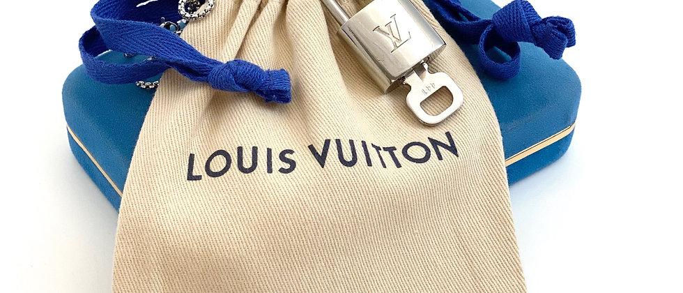 Repurposed Louis Vuitton LV Monogram RARE Silver Lock Charm Necklace