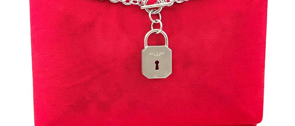 Repurposed Saint Laurent Silver Padlock Choker Necklace