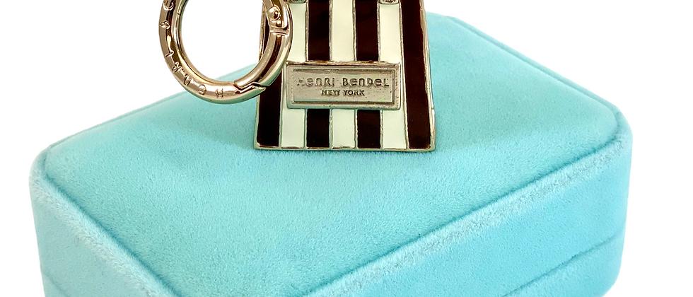 Henri Bendel Enameled Iconic Striped Shopping Bag Keychain w/Swarovski Accent