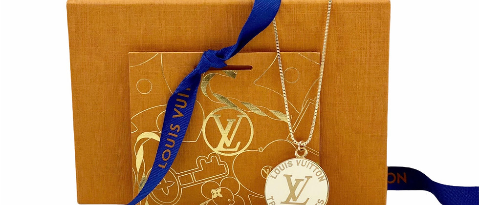 Repurposed Louis Vuitton Large Gold & White Enameled Very Rare Charm Necklace