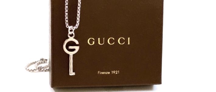 Repurposed Vintage Silver Gucci G Key Pendant Necklace
