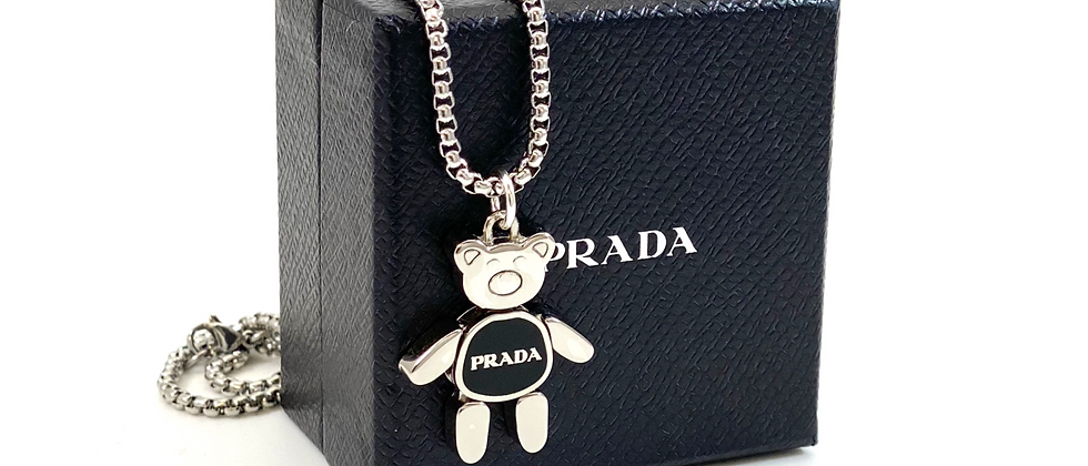 Repurposed Medium Silver & Black Prada Bear Charm Necklace