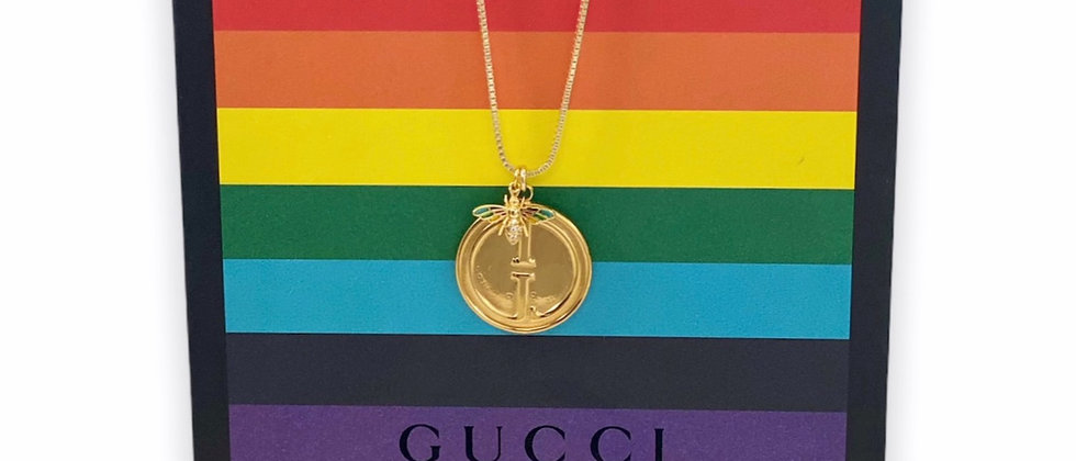 Repurposed Vintage Medium Gold Gucci & Enamel Bee Charms Necklace