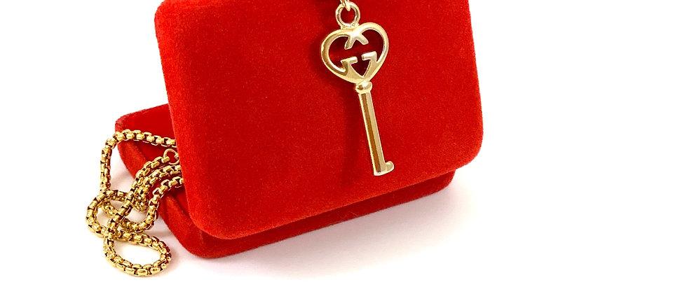 Repurposed Vintage Gucci GG Rare Heart Key Pendant Necklace
