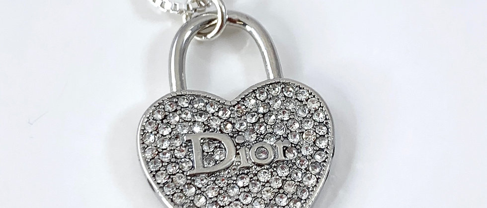 Repurposed Christian Dior Sterling Silver Rhinestone Heart Charm Necklace