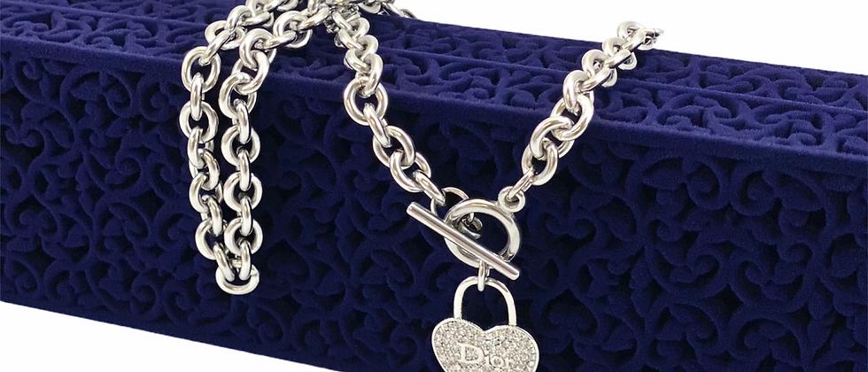 Repurposed Christian Dior Silver Rhinestone Heart Charm Choker Necklace