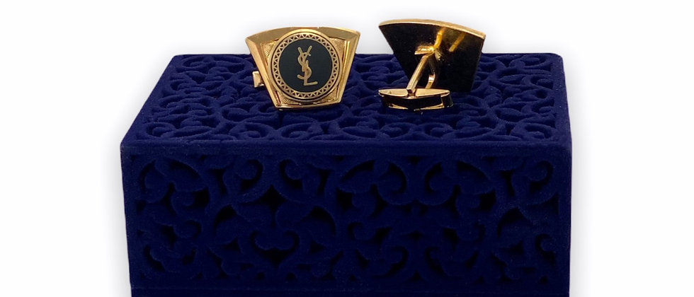 Vintage Repurposed YSL Accent Black & Gold Cuff Links