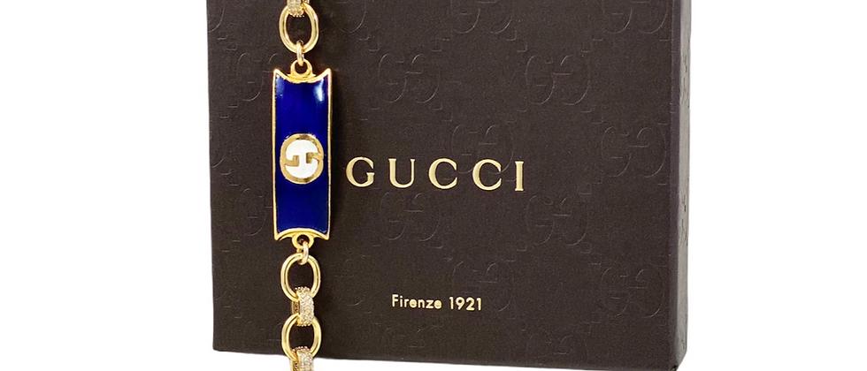 Vintage 1970's Repurposed Blue & White Enameled Gucci Plate CZ Link Bracelet