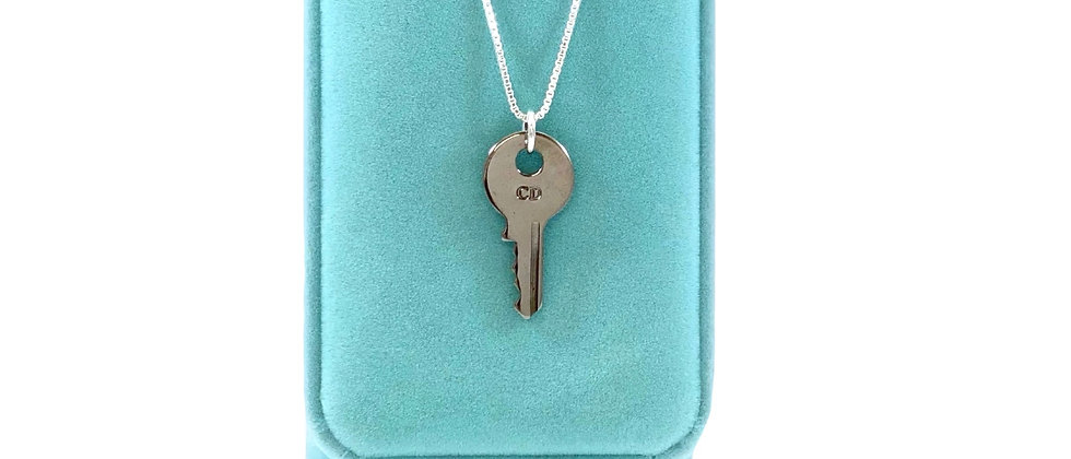 Vintage Repurposed Silver Christian Dior CD Key Charm Necklace