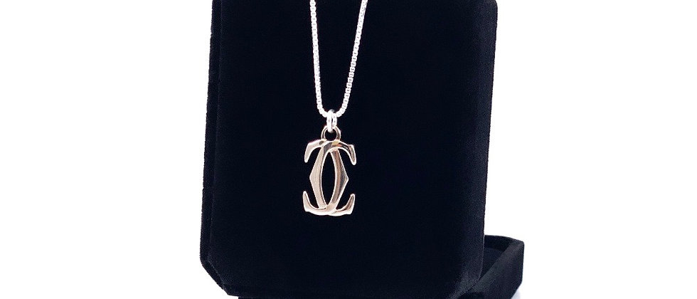 Repurposed Sterling Cartier Medium Logo Charm Necklace