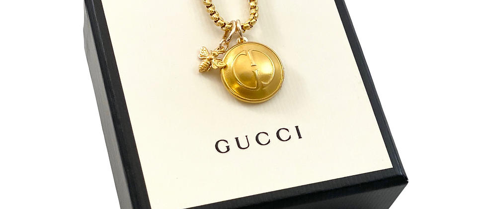 Repurposed Vintage Large Gucci GG & Bee Charm Necklace