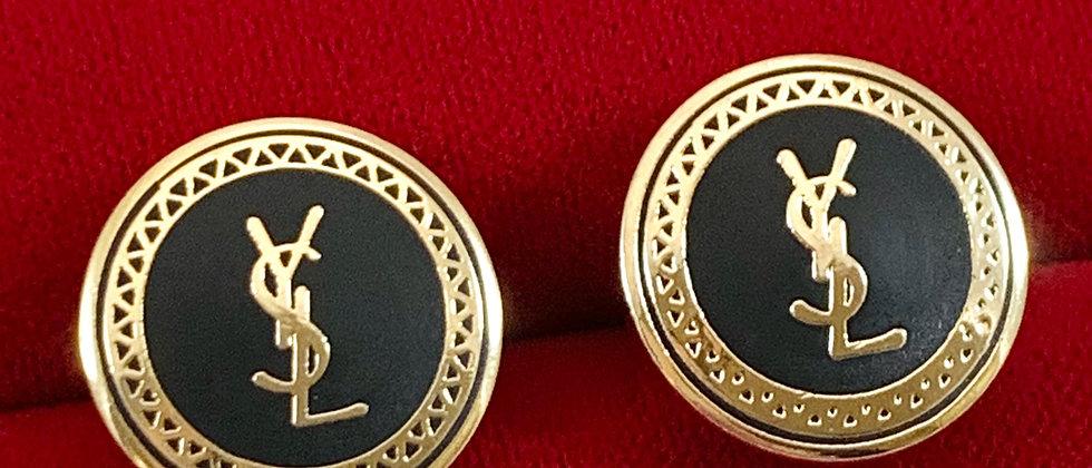 Vintage Repurposed YSL Black & Gold Button Earrings