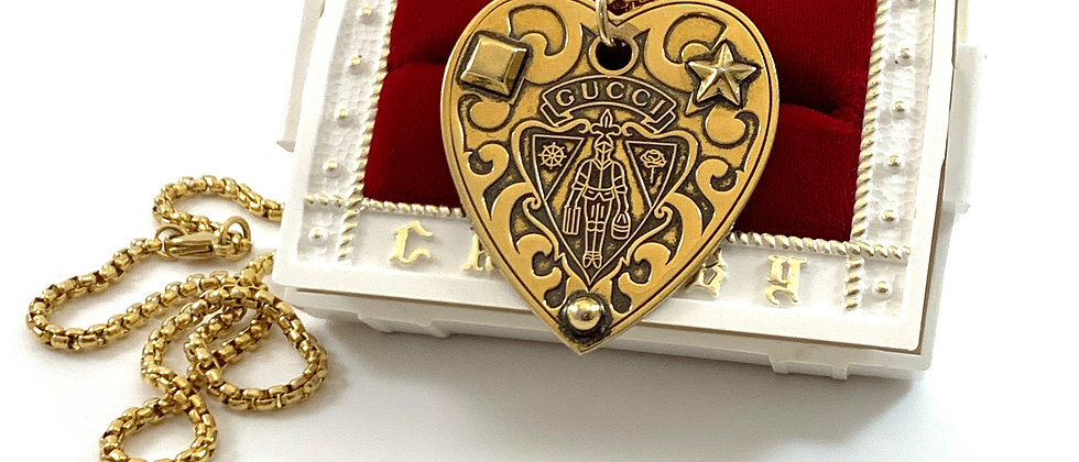 Repurposed Vintage XL Gucci Knight Crest Heart Charm Necklace