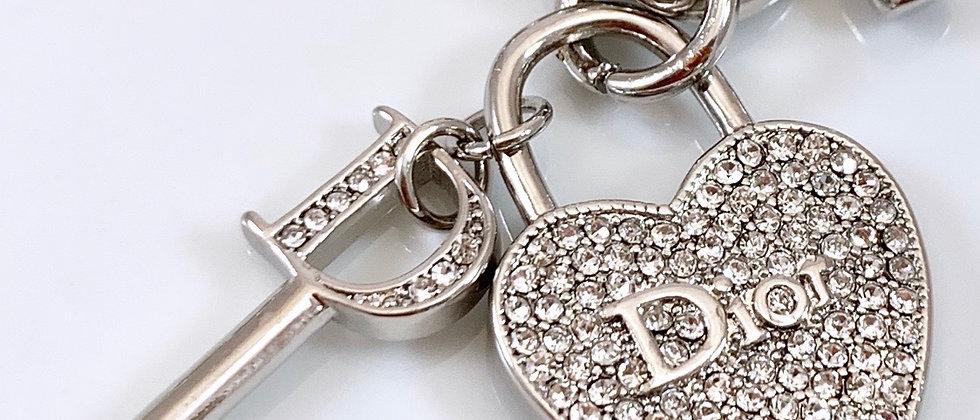 Repurposed Christian Dior Silver Rhinestone Heart & Charm Choker