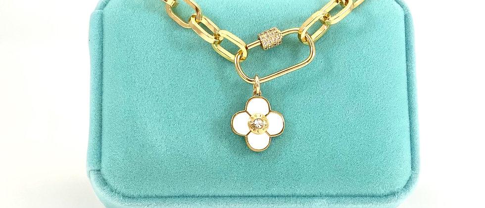 Repurposed Henri Bendel Gold Swarovski & Enamel Flower Paperclip Choker Necklace