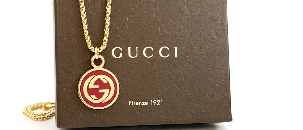 Repurposed Vintage Gucci Red & Gold Large Charm Necklace