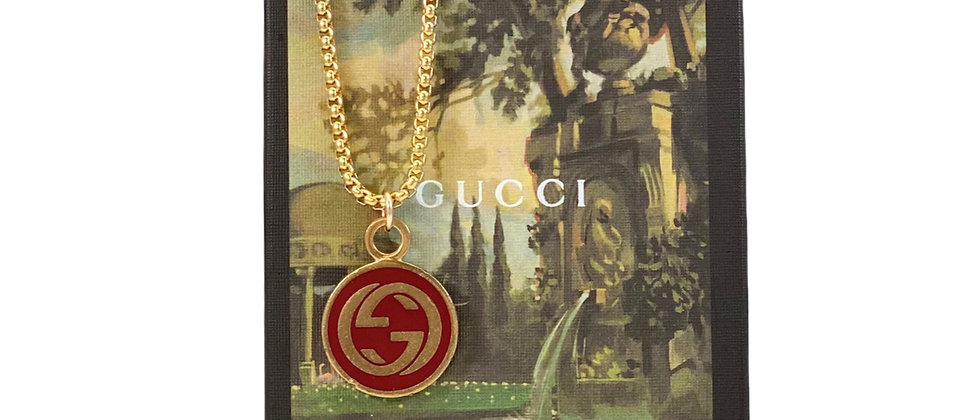 Repurposed Vintage Gucci Dark Red & Gold Large Charm Necklace