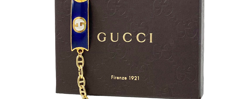 Vintage 1970's Repurposed Blue & White Enameled Gucci Plate Bracelet