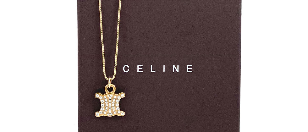 Repurposed Vintage Gold & Crystal Double Sided Celine Charm Necklace