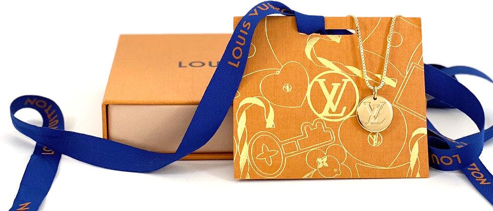 Repurposed Louis Vuitton Medium Gold & Mauve LV Monogram & Flower Charm Necklace