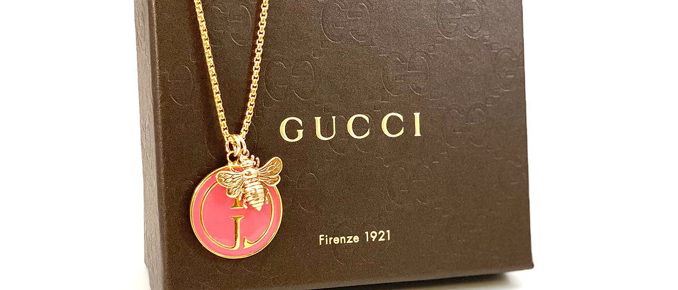 Repurposed Vintage 1990's Gucci Pink Enamel & Bee Charm Necklace