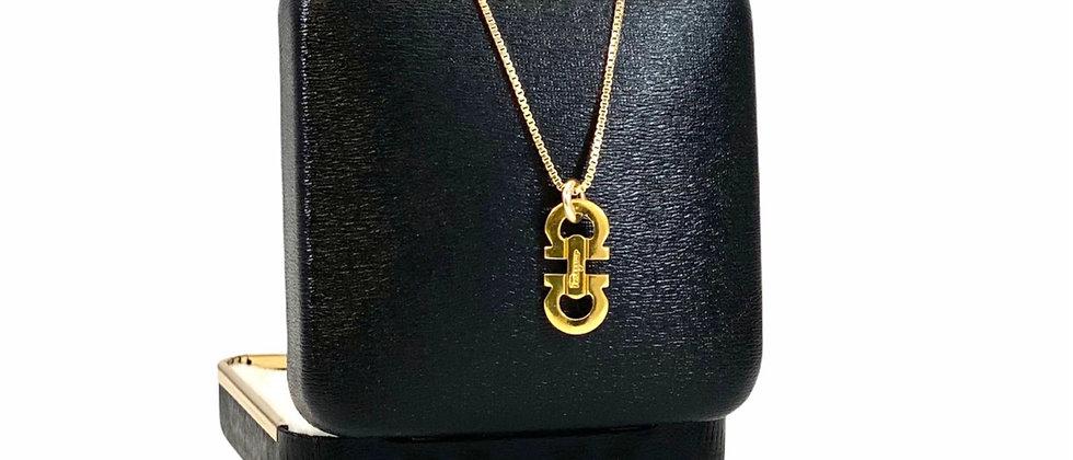 Repurposed Salvatore Ferragamo Petite Gold Gancini Logo Charm Necklace