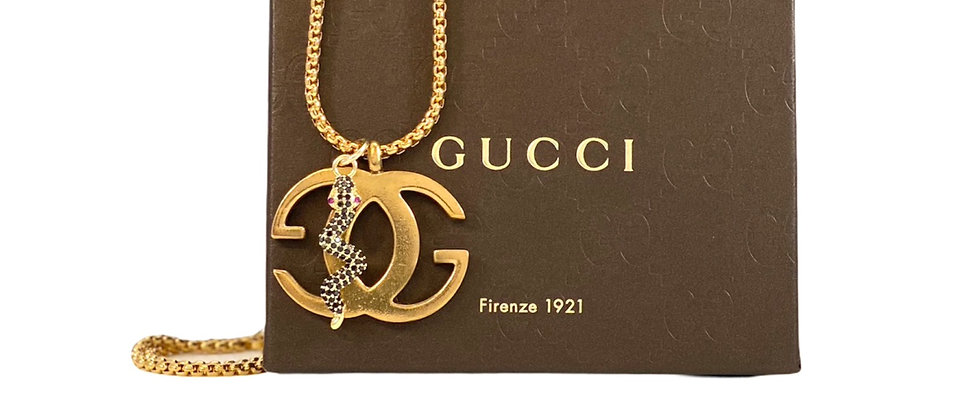 Repurposed Vintage Gucci XXL Matte GG Charm & Removable Snake Necklace